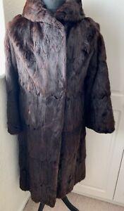 Fabulous Vintage Real Fur Mink  Full Length Coat By Philip Burger Size 14/16