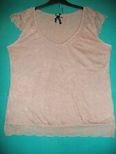 Ladies Size 18 Coffee Crinkle Jersey Lace Trimmed Top by Atmosphere