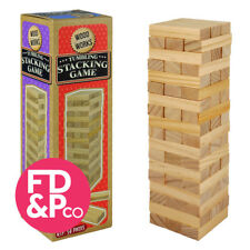 Stacking Tumbling Tumble Wooden Blocks 7 in Tower 54 pce Family Jenga Party GAME