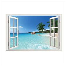 Beach Resort 3D Window View Removable Wall Sticker Art PVC Decal Decor Mural UA