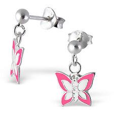 925 Sterling Silver pink white butterfly stud Earrings cute drop dangle 9 x 8mm