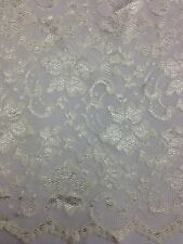 "New Fashion Cream  Stretch Floral Lace Fabric Double Scalp Border 59"" 150 Cm"