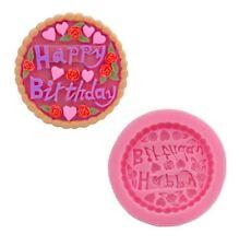 Feliz Cumpleaños Cupcake Topper circular de silicona para fondant Sugarcraft Molde