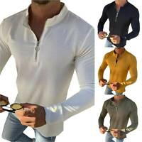 Men Zip Neck Long Sleeve T Shirt Pullover Casual Slim Fit Full Tops Blouse Tunic