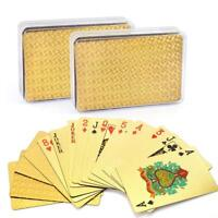 Waterproof 24K Gold Playing Cards Poker Collection Plastic Decks of 2 Card Games