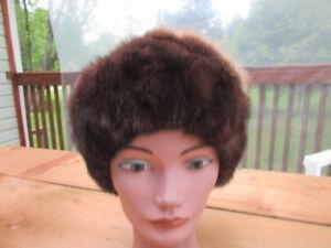 "#S1 men women beret mink brown fur hat top blond beaver fur 22"" in 23"" in"