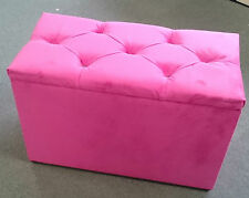 LARGE STORAGE BOX / OTTOMAN pink soft velvet type fabric with chrome buttons NEW
