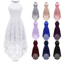 US Women Halter Maxi Lace Dress High-Low Hemline Wedding Bridesmaid Formal Dress
