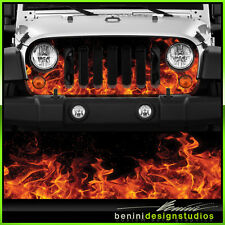 Jeep Wrangler Grill Vinyl Wrap Skin Real Flames 2007 2008 2009 2010 2014 2015 16