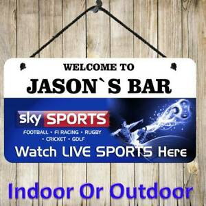 Personalised Hanging Sky Sports Bar Sign Metal Plaque Pub Man Cave Shed Beer