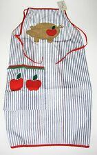 Pig Apple & Stripes Bib Chef Apron Mullings Square Vtg Austin Tx Usa Paleo Hog