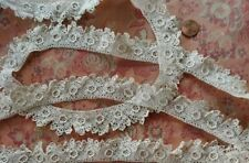 """All Roses ! Antique Irish Crochet Trim Lace 1 yard doll tiny picoted 1"""" Wide"""