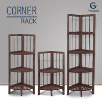 Luxury Wooden Corner Shelf Standing Shelving Rack Home Decoration Unit Coffee