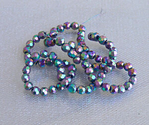 Iris Purple Faceted Round Glass Beads 4mm One Strand