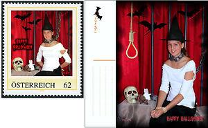 U) Personalized stamp and card HALLOWEEN witch bat  bondage skull AUSTRIA 2013