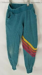 Aviator Nation Blue Rainbow Striped Sweatpants Kids 8