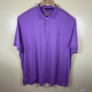 Polo Ralph Lauren Polo Shirt Mens 4XB Big Purple Pima Soft Touch Short Sleeve