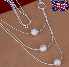 925 Sterling Silver Ball Necklace Triple Strand Glitter Texture Free Gift Bag UK