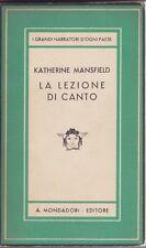 Katherine Mansfield, La lezione di canto, Mondadori, Medusa, 1942, letteratura