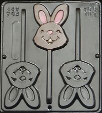 Happy Face Bunny Lollipop Chocolate Candy Mold Easter  884 NEW