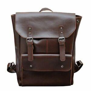 Crazy Horse Leather Backpack Vintage Men Women Laptop Travel Bag For Teenager
