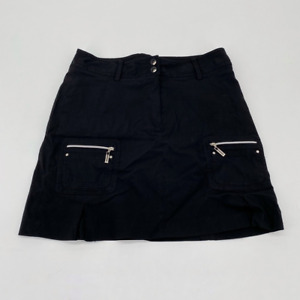 Jamie Sadock Womens Golf A Line Skort Black Stretch Zipped Pockets Button 6
