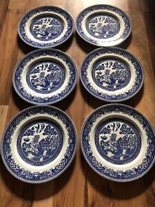 Set Of 6 Myott Old Willow 26cm Dinner Plates