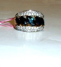 BLUE SAPPHIRE MARQUISE & W ZIRCON 5-STONE BAND RING, SILVER, SIZE 6, 5.09(TCW)