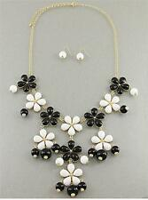 BLACK AND WHITE FLOWER GOLD BAUBLE BUBBLE CHUNKY NECKLACE EARRING SET