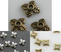 100pcs Retro Silver/Golden/Bronze Tone Leaf Bead Caps 6mm U Choose Color