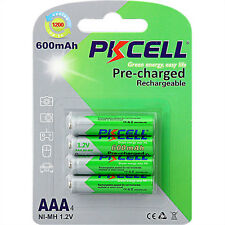 4pcs PKCELL 1.2V 600mAh AAA NiMh Low-Self Discharge Rechargeable Battery Cells