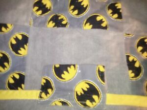 INFANT SIZE Quilt Receiving TAGGIE BLANKET or WALL HANGING Flannel BATMAN BLOCKS