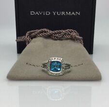 David Yurman Petite Albion Ring With  Blue Topaz & Pavé Diamonds Sz 6