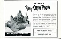 1963 Dealer Print Ad of Erskine Manufacturing Champion Tractor Rotary Snow Plow