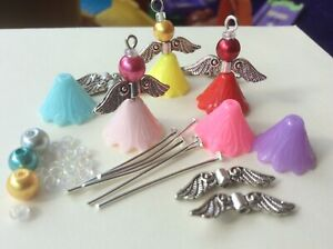KIT - 20 Guardian Angel Charms. Acrylic Flower, glass pearl beads. Silver wings