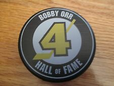 BOBBY ORR No. 4 BOSTON BRUINS Hall Of Fame - Parry Sound, Canada PUCK Black