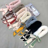 Faux Rabbit Fur Neck Collar Scarf Heart Design Neck Warmers Knitted Ring Scarfs