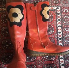 Thick Red Leather / Suede Calf-Length Boots With Flower Design Handmade