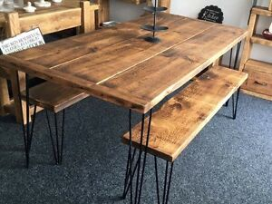 RUSTIC / INDUSTRIAL TABLE AND BENCH SET - HANDMADE - ANY SIZE !!