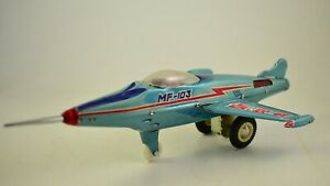 "Vintage tin toy ""MF103 SUPER SONIC JET PLANE"" FRICTION DRIVE CHINA 1960"