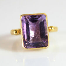 Handmade Hammered Band Large Amethyst Ring 24K Gold Over Sterling Silver