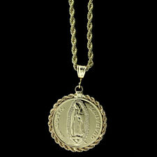 """18K GOLD PLATED SAN JUDAS/VIRGEN GUADALUPE MEDALLION PENDANT & 24"""" ROPE CHAIN"""