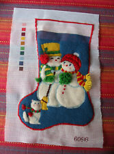 "Bucilla 60618 Frosty Friends Snowmen & Cat 18"" Stocking pre-worked"
