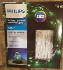 Philips Battery Operated Dewdrop Lights GREEN LED Indoor/Outdoor #051042765
