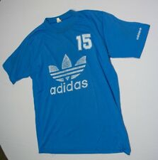 VINTAGE T SHIRT 70's Adidas Sports Athletic Short Sleeve Trefoil Blue 3 Stripes