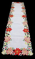 Embroidered and Cutwork Poinsettia Table Runner Ivory 16x72 inches