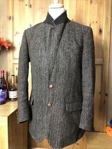 Men Harris Tweed Blazer Accent Jacket Scottish Wool 44L Town & Country