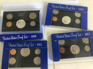 4 proof sets 1968, 1969, 1971, 1983 shown with blue box, 68&69 40% proof kennedy