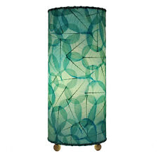 Eangee Home Design Fossilized Banyan Leaves Sea Blue Hand-stitched Table Lamp