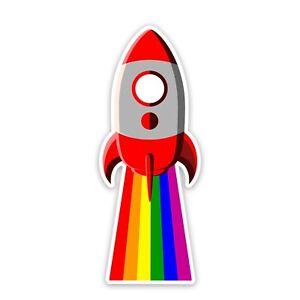 "Rainbow Rocket Gay Pride LGBTQ 4"" Tall Sticker - Includes Two Stickers"